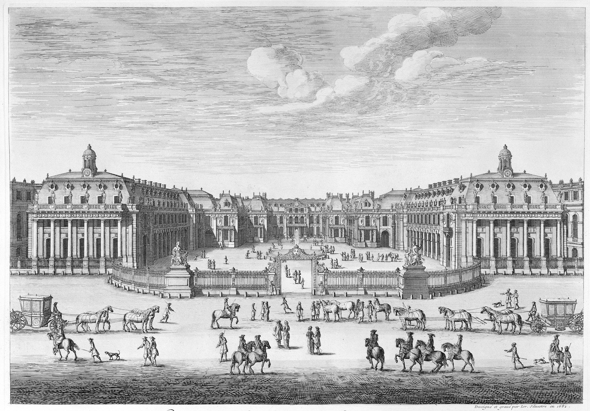 Château de Versailles seen from the forecourt, from Chalcographie du  Louvre, Vol. 22