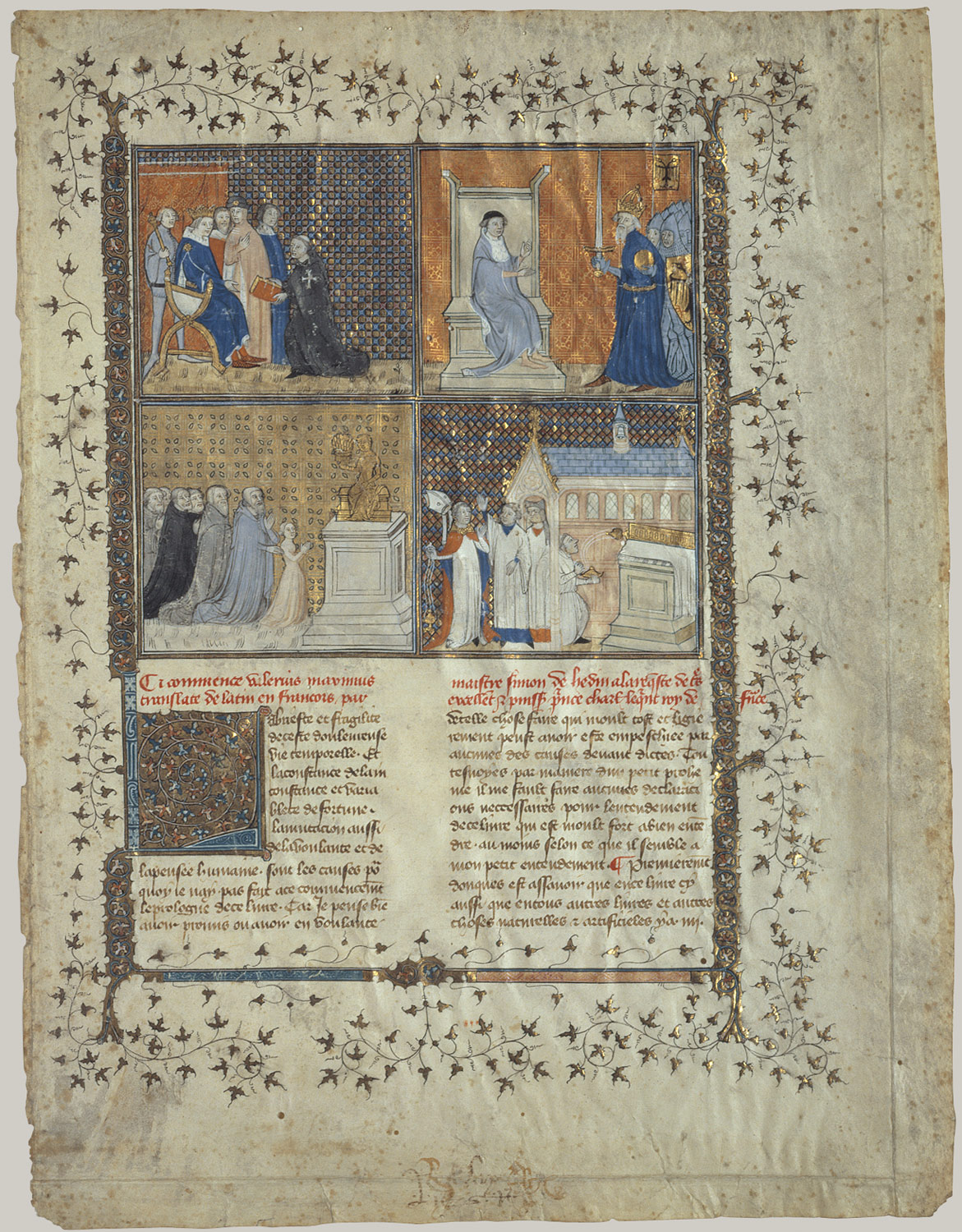 leaf from a manuscript of valerius maximus workshop of pierre  leaf from a manuscript of valerius maximus