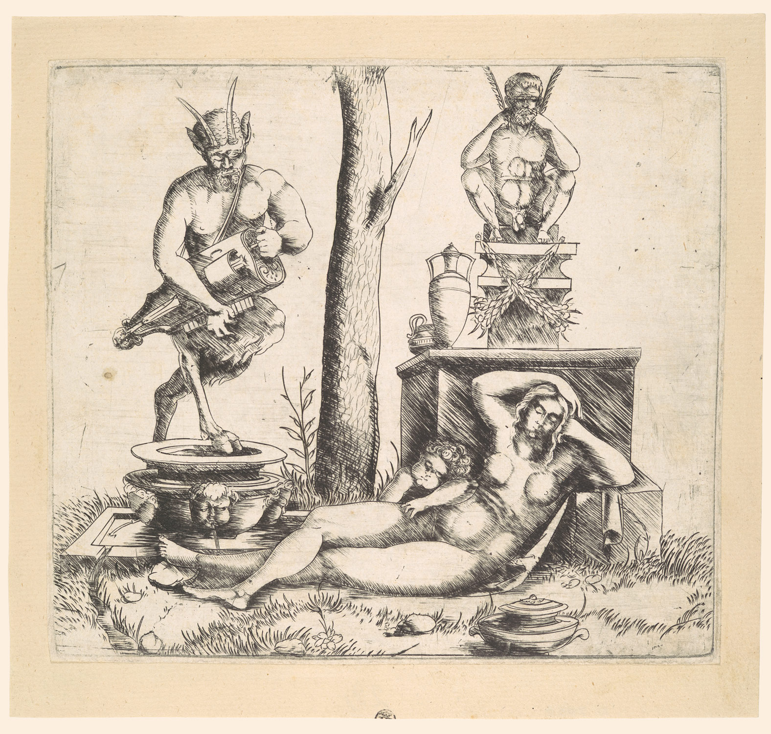 Satyr Playing a Lyre, with a Sleeping Nymph