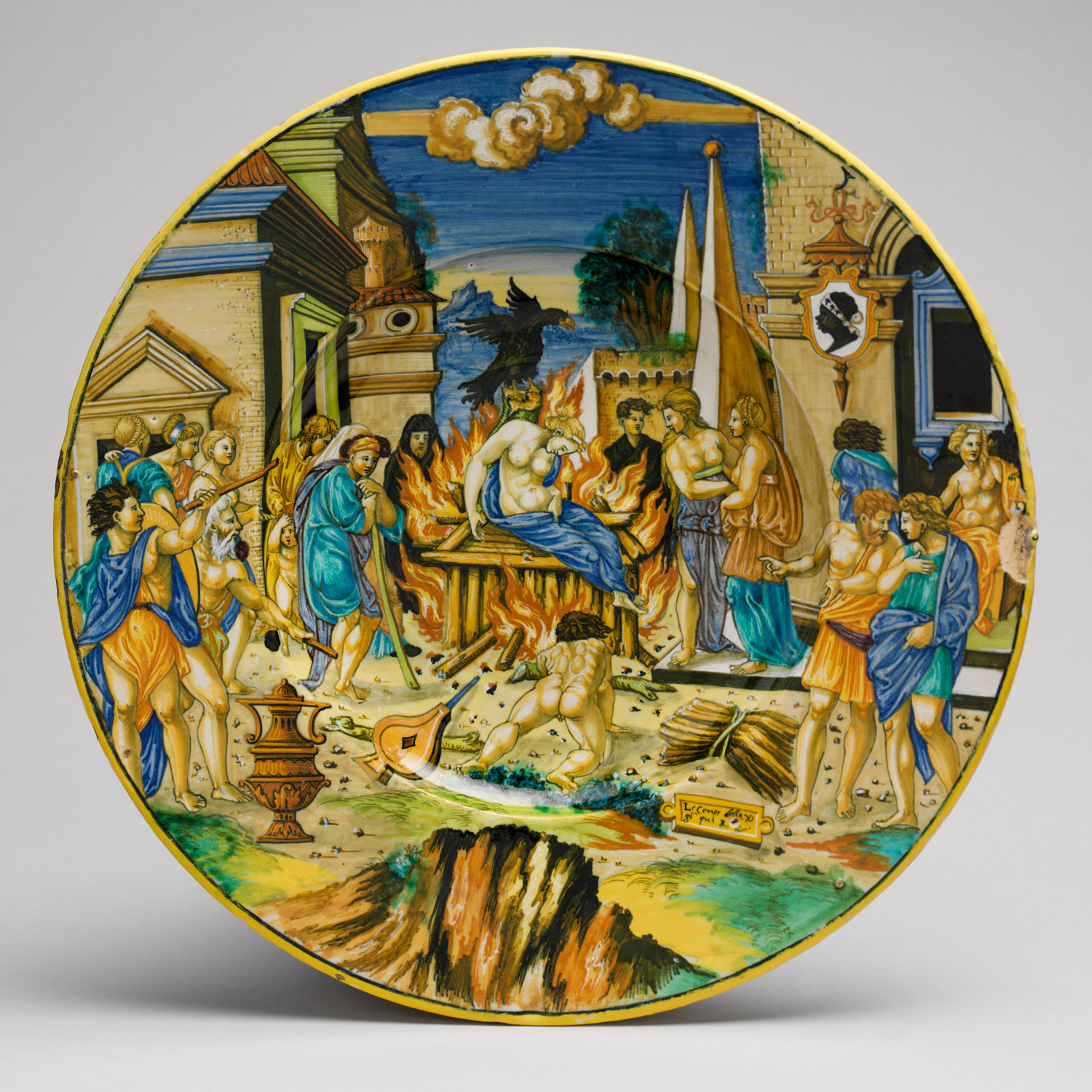 Dish with The Woman of Sestos and the Eagle and arms of the Pucci family