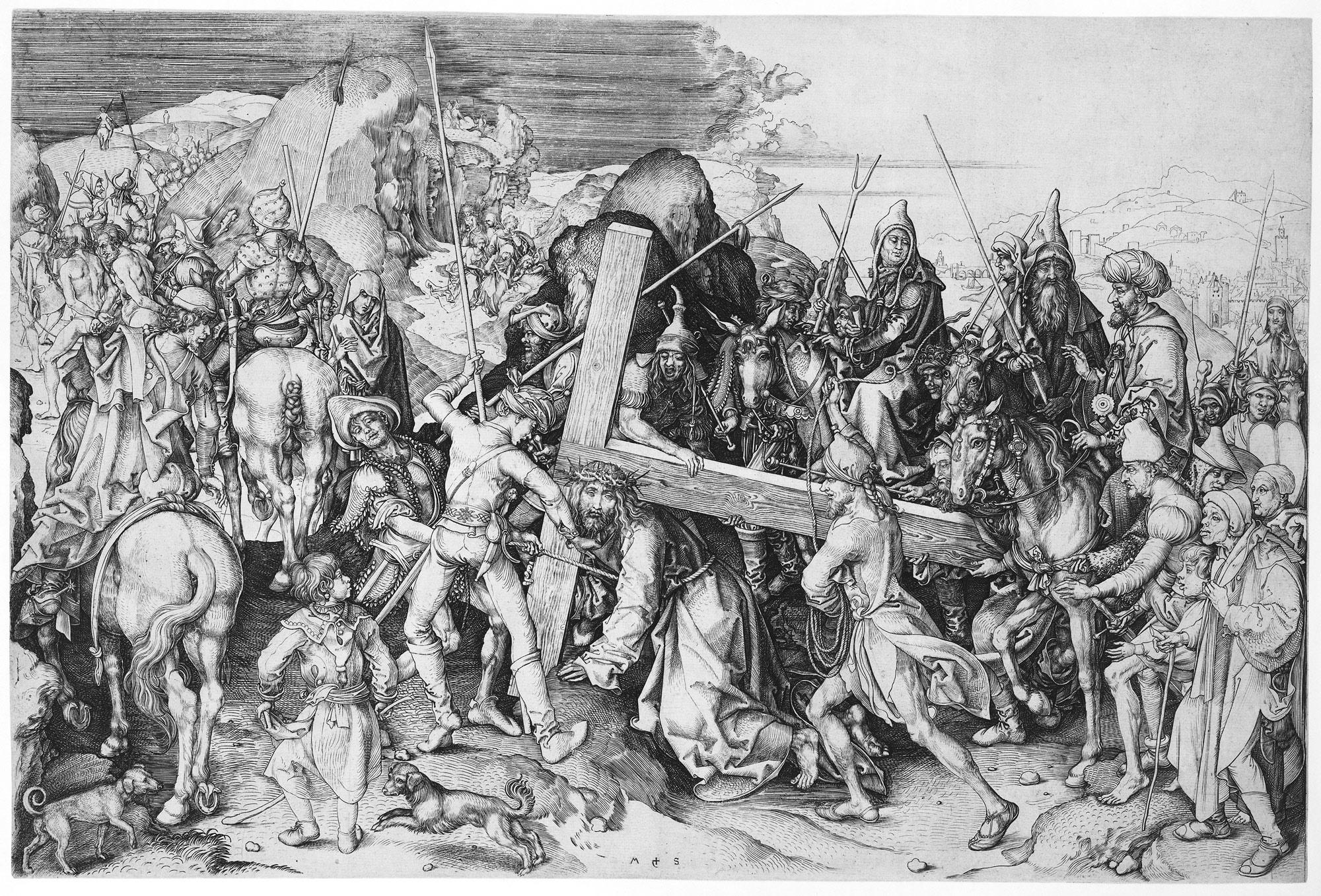 christ carrying the cross martin schongauer 35 27 work of art