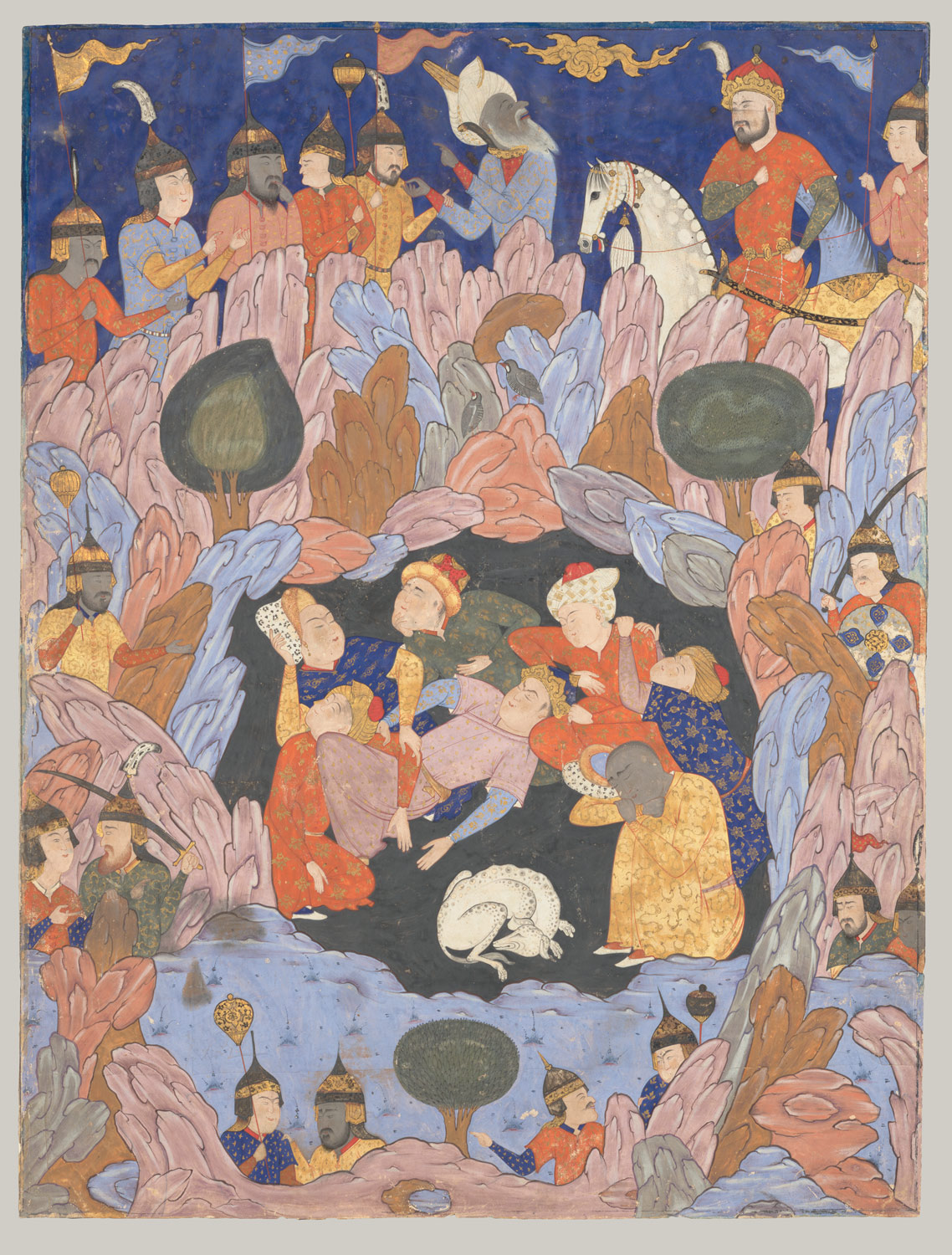The Seven Sleepers of Ephesus Discovered by Alexander the Great, Folio from a Falnama (Book of Omens)
