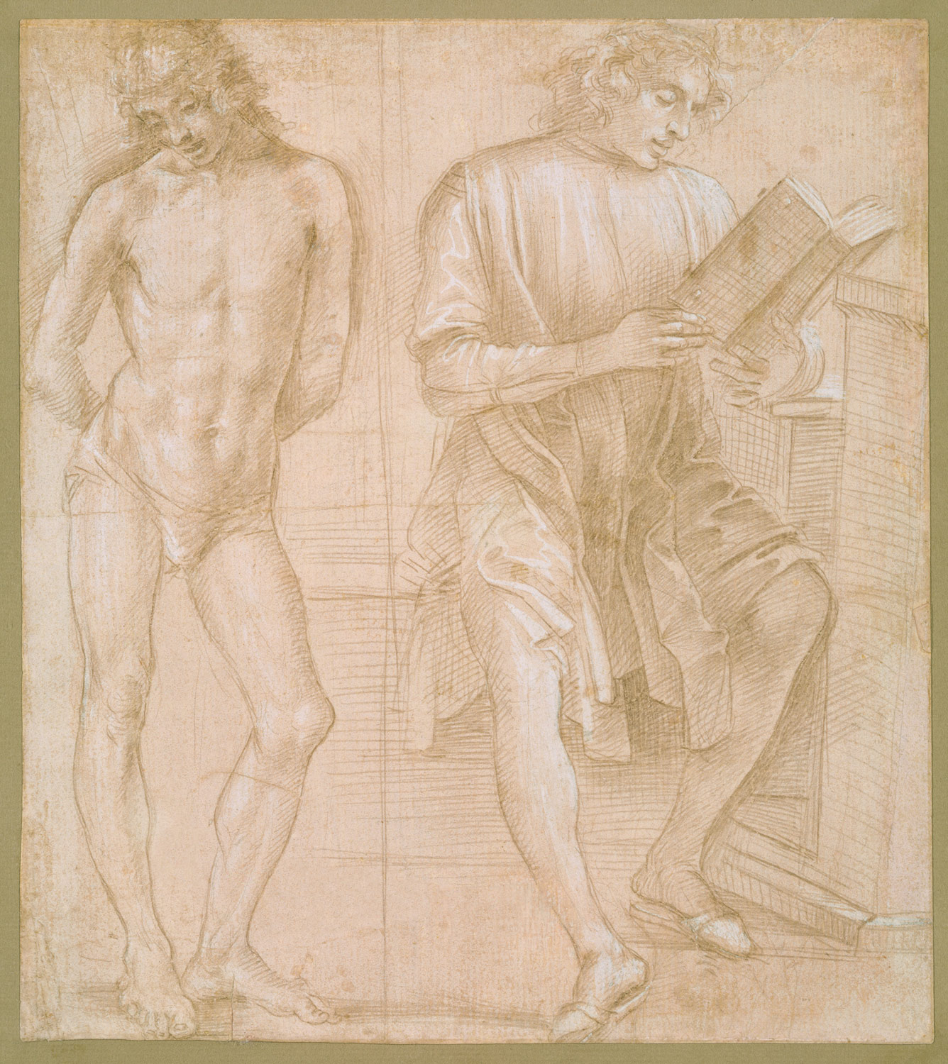 Standing Youth with Hands Behind His Back, and a Seated Youth Reading (recto); Two Studies of Hands (verso)