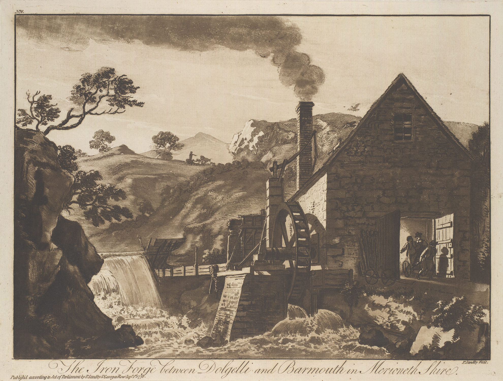 The Iron Forge between Dolgelli and Barmouth in Merioneth Shire: Plate 6 of XII Views in North Wales