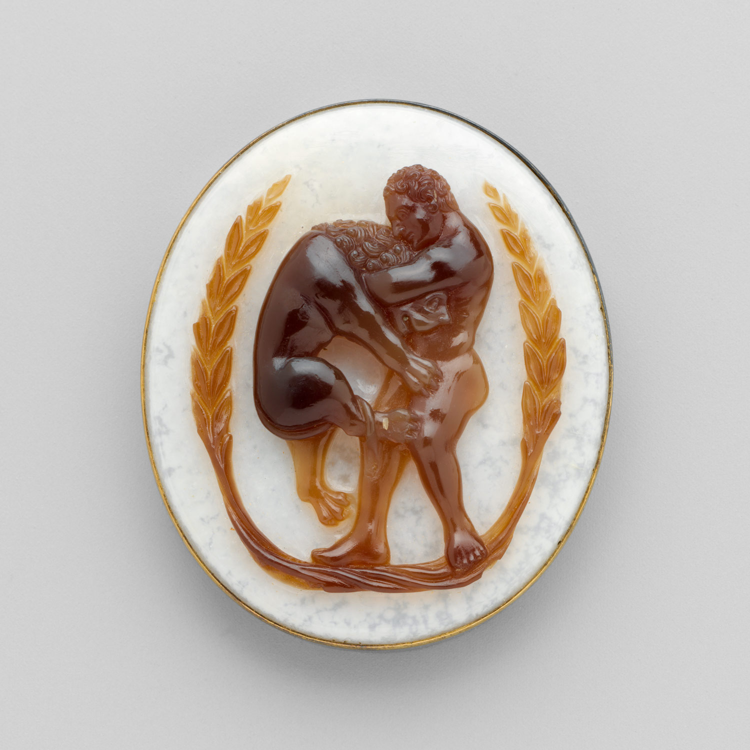 Cameo with Hercules and the Nemean Lion within a Garland