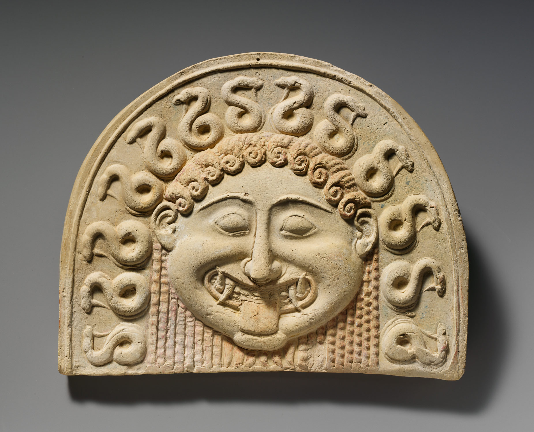 Terracotta Painted Gorgoneion Antefix Roof Tile Work