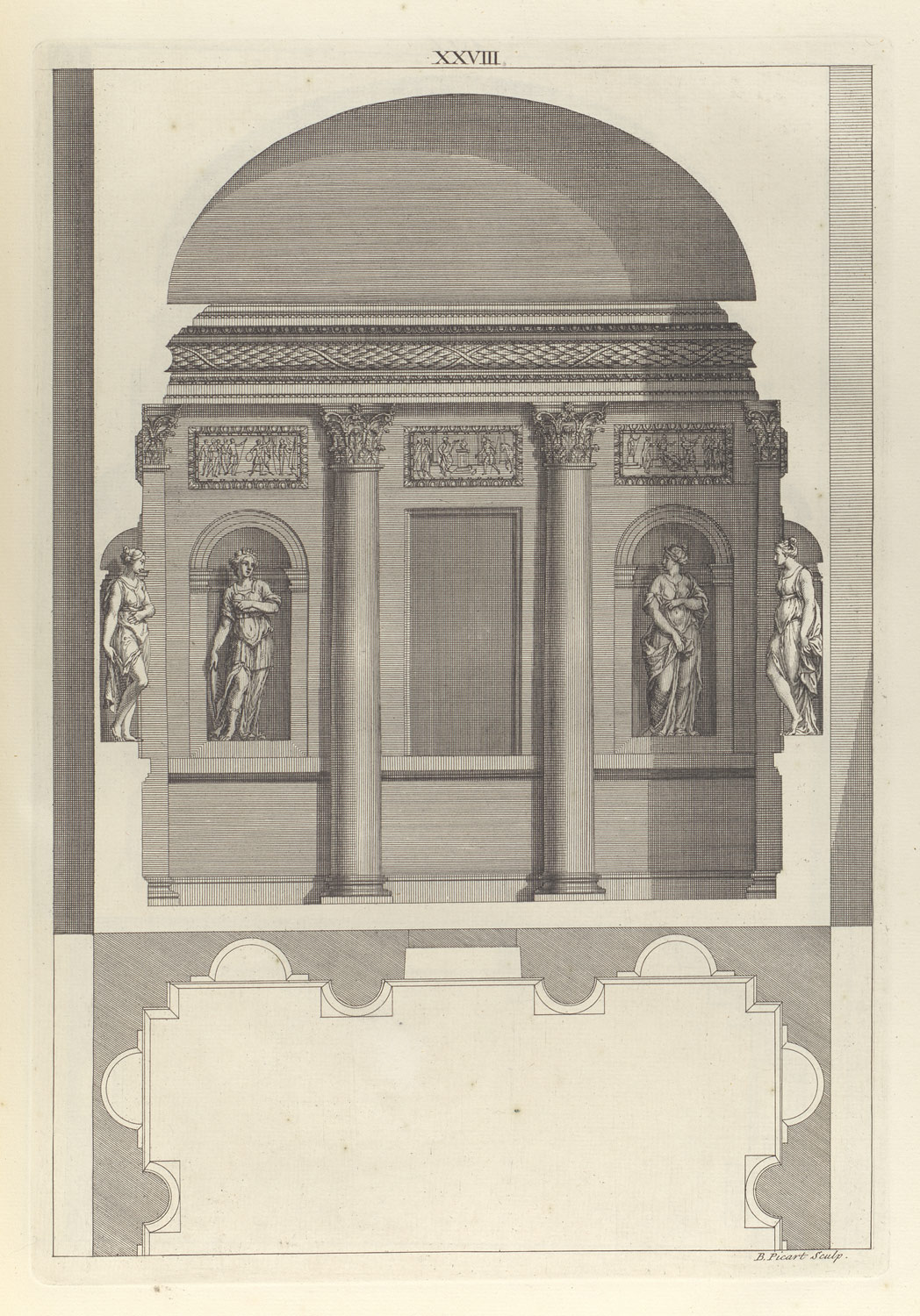 Design for a Corinthian Hall, in The Architecture of A. Palladio in Four Books containing a Short Treatise on the Five Orders (LArchitecture de A. Palladio en quatre livres... / Il quattro libri dellarchitettura) (Volume 1, book 2, plate 28)