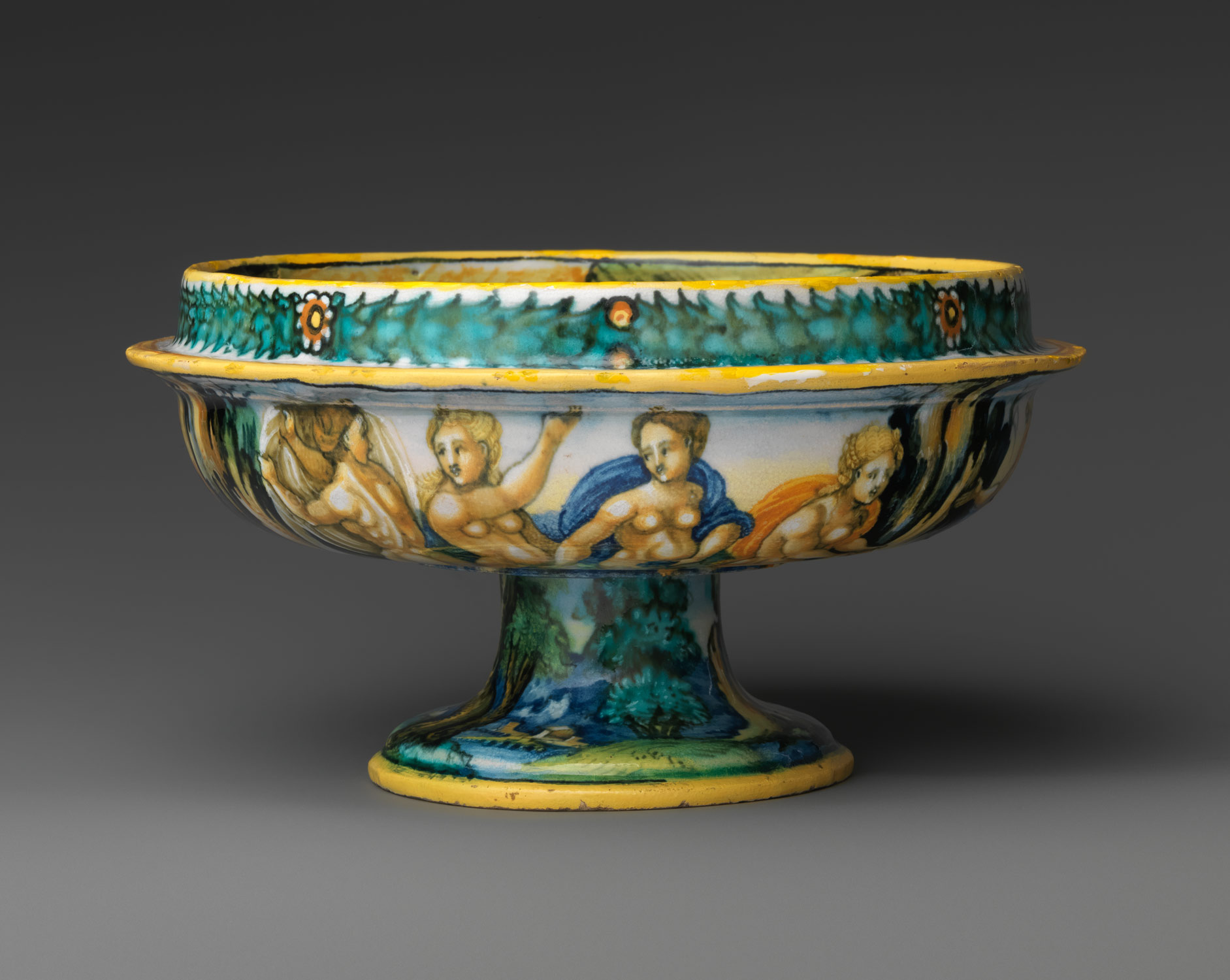 Bowl from a birth set with birth scene and Diana and Actaeon