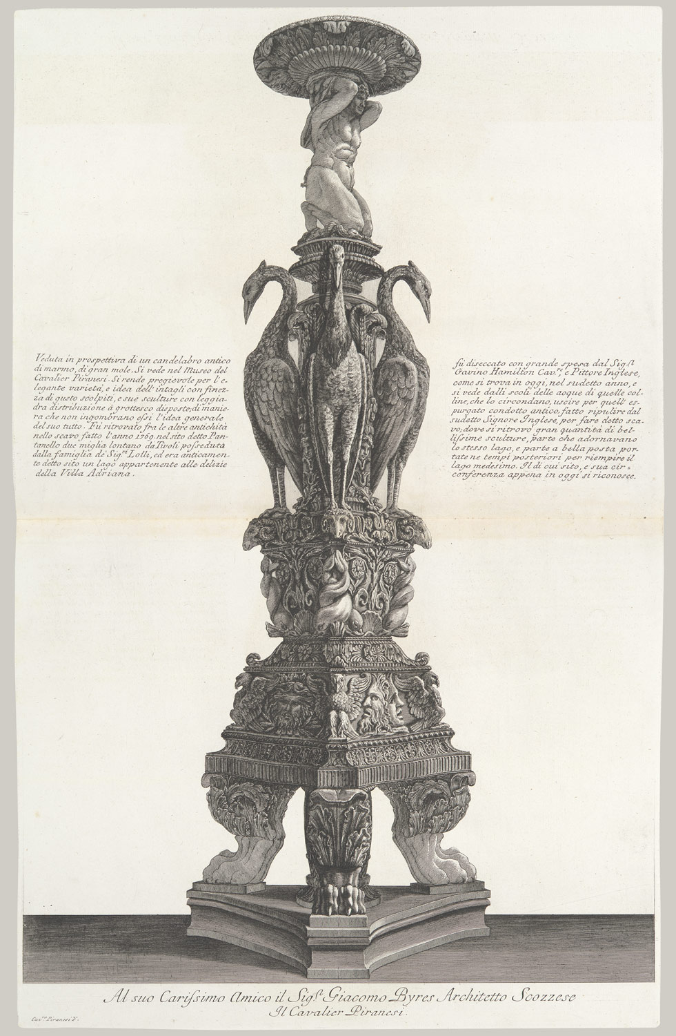 Perspective view of the same candelabrum, from Vasi, candelabri, cippi, sarcofagi, tripodi, lucerne, ed ornamenti antichi, vol. II (Vases, candelabra, grave stones, sarcophagi, tripods, lamps, and ornaments)