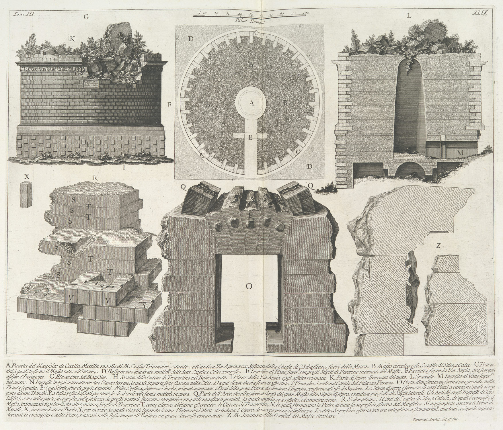 Plan of the Mausoleum of Caecilia Metella, wife of the Triumvir Marcus Crassus...,  from Le Antichità Romane (Roman Antiquities), tome 3, tavola 49