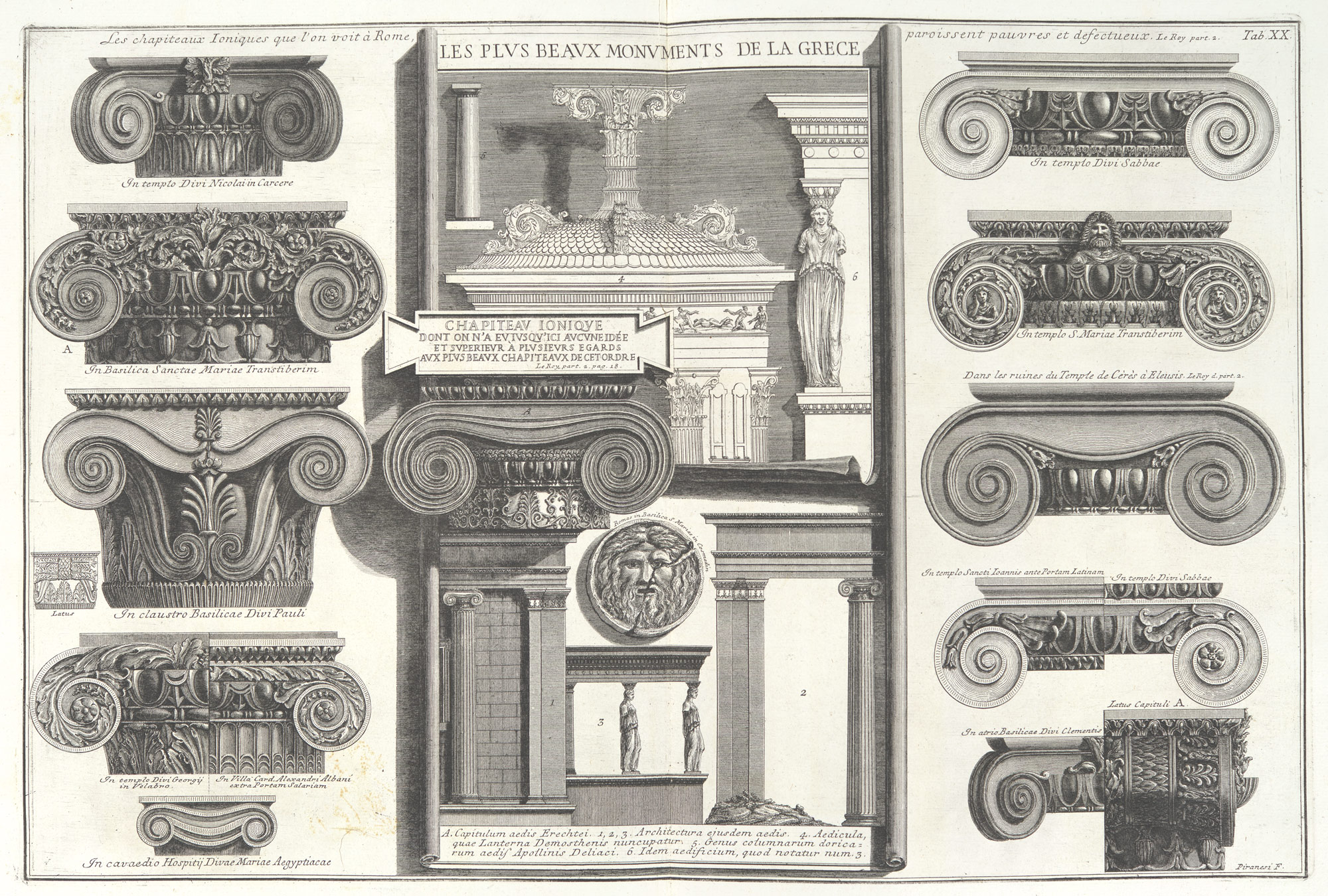 Various Roman Ionic capitals compared with Greek examples from Le Roy
