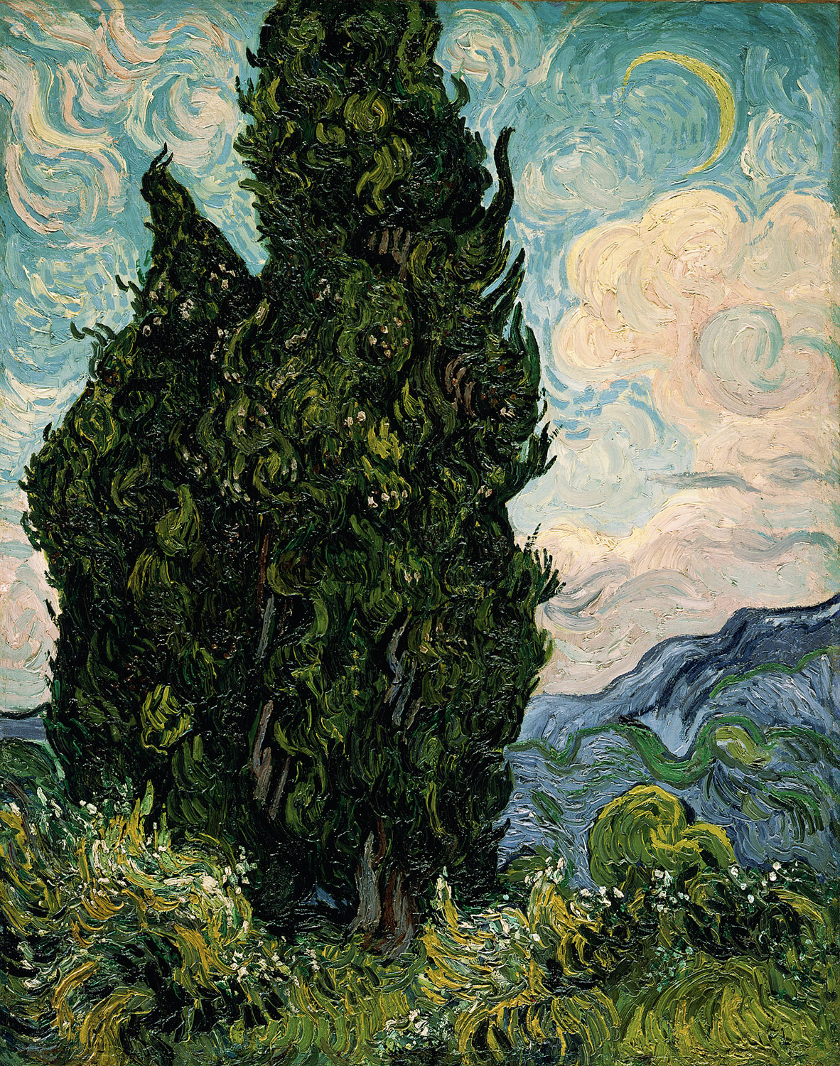 vincent van gogh cypresses painting 1889