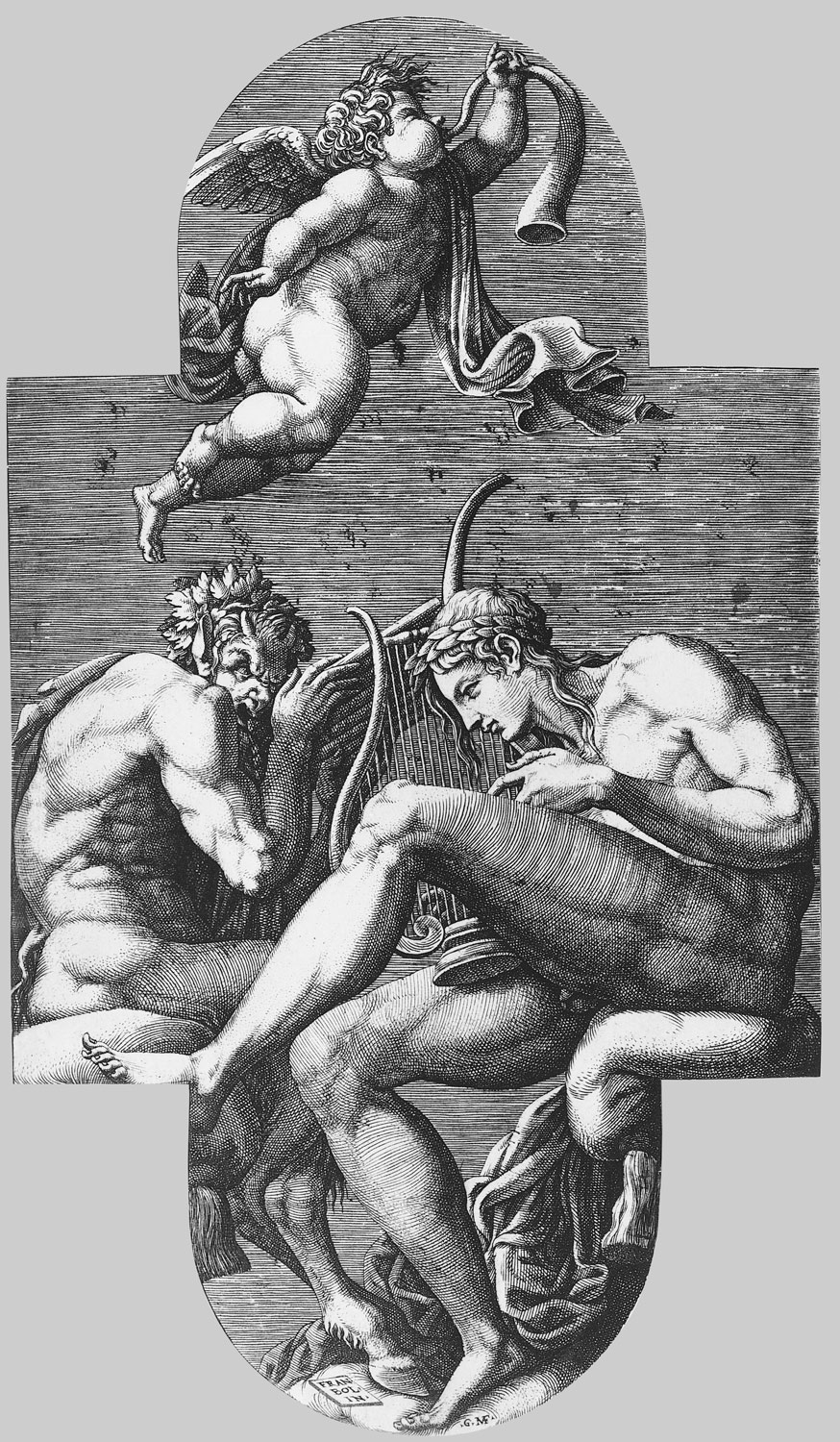 Apollo, Pan, and a putto blowing a horn, from a series of eight compositions after Francesco Primaticcios designs for the ceiling of the Ulysses Gallery (destroyed 1738-39) at Fontainebleau