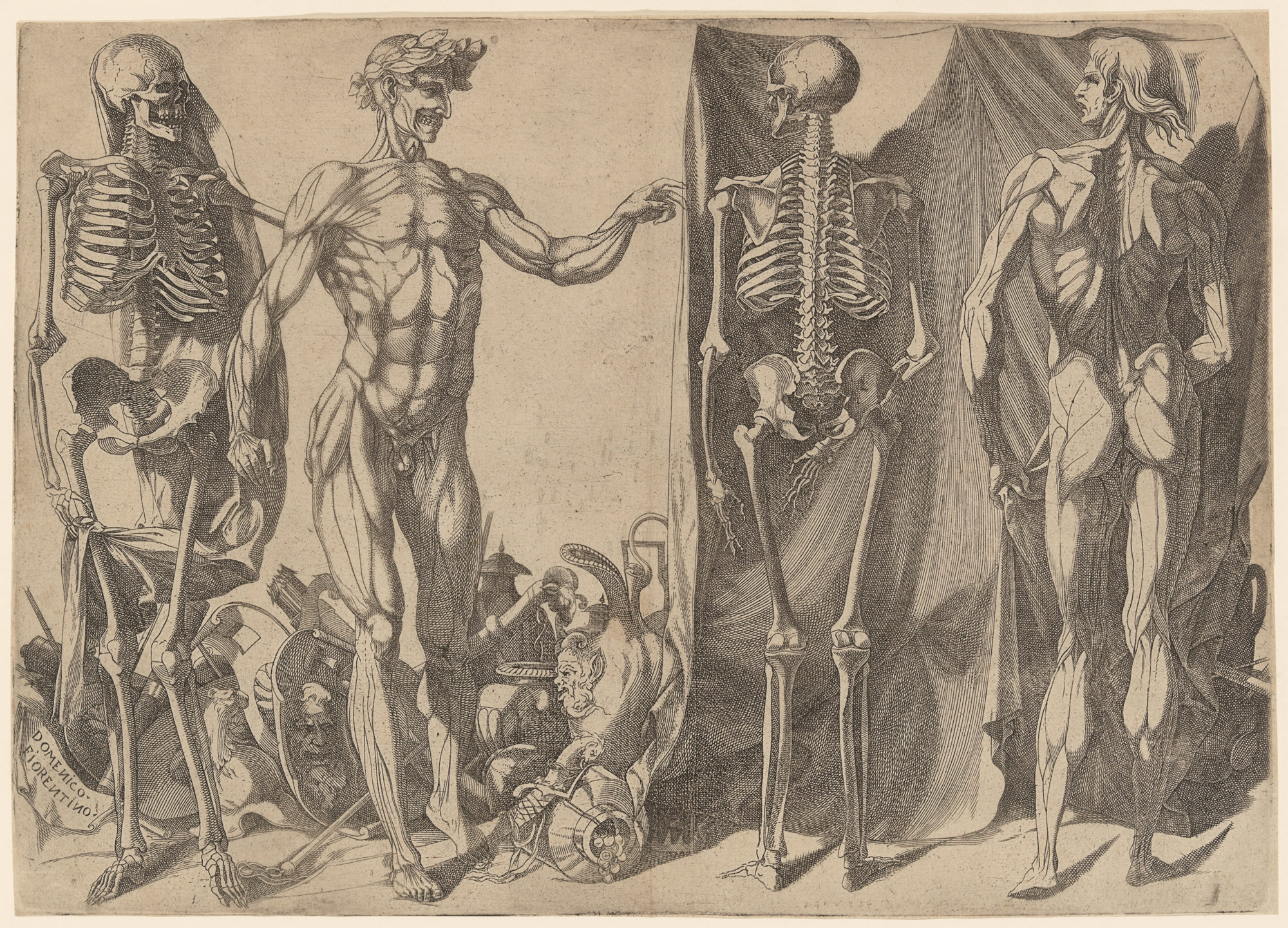 Two Flayed Men and Skeletons