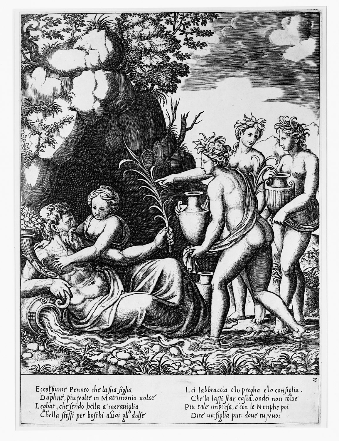 Apollo standing at left shooting a python with an arrow, above to the left are the muses and at right on a cloud Cupid approaching Apollo, from the Story of Apollo and Daphne