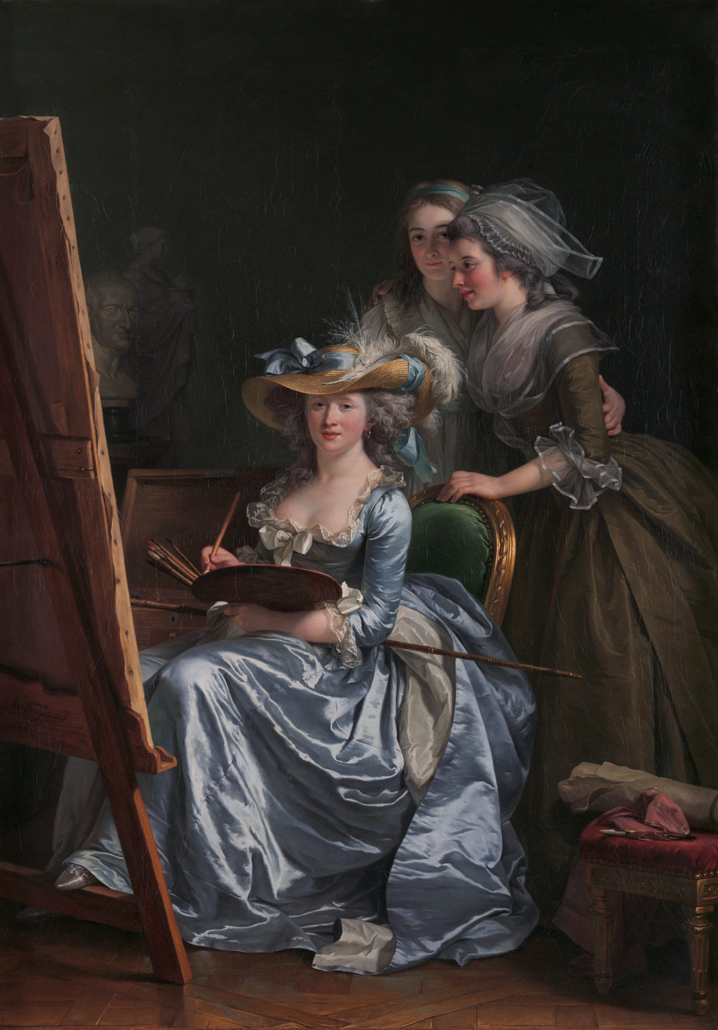 Self-Portrait with Two Pupils, Marie Gabrielle Capet (1761–1818) and Marie Marguerite Carreaux de Rosemond (died 1788)