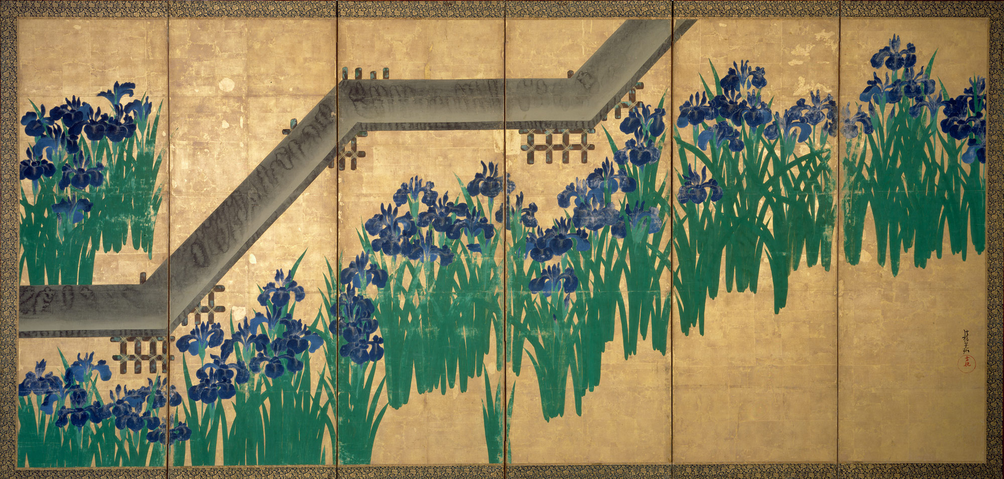 Irises at Yatsuhashi (Eight Bridges)