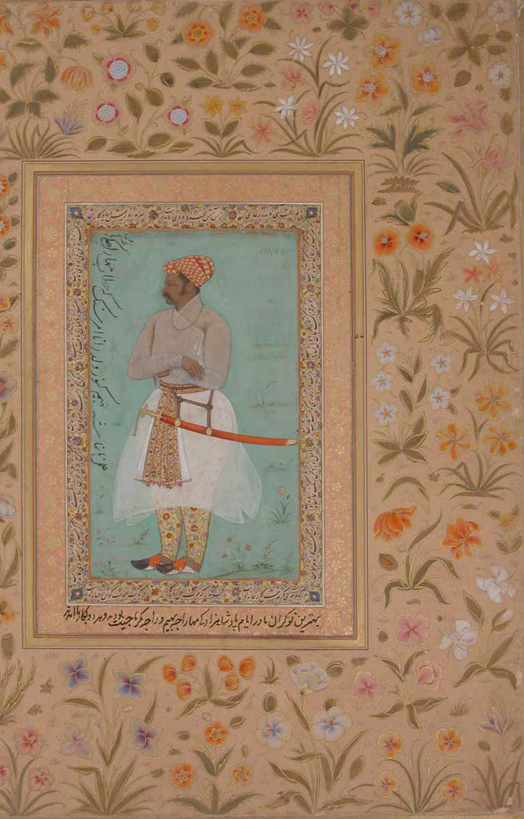 Portrait of Maharaja Bhim Kunwar: Leaf from the Shah Jahan Album, Mughal, period of Jahangir (1605–27), ca. 1615 By Nanha India Ink, opaque watercolor, and gold on paper