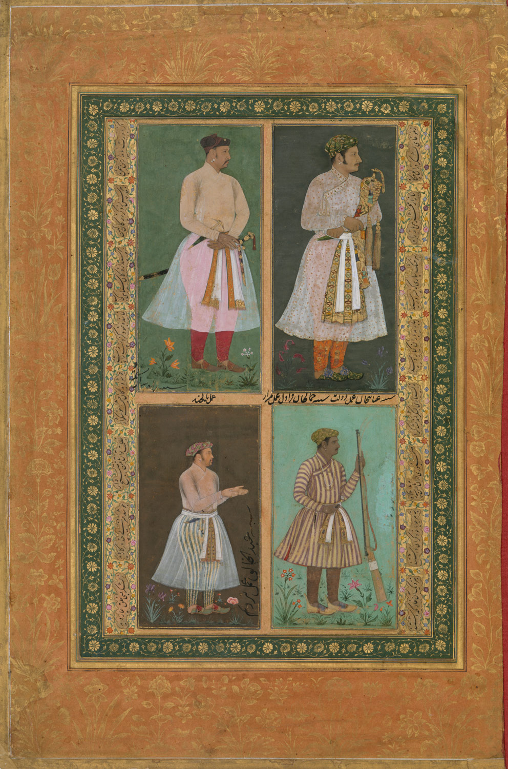 Four Portraits: (upper left) A Raja (Perhaps Raja Sarang Rao), by Balchand; (upper right) Inayat Khan, by Daulat; (lower left) Abd al-Khaliq, probably by Balchand; (lower right) Jamal Khan Qaravul, by Murad, Folio from the Shah Jahan Album