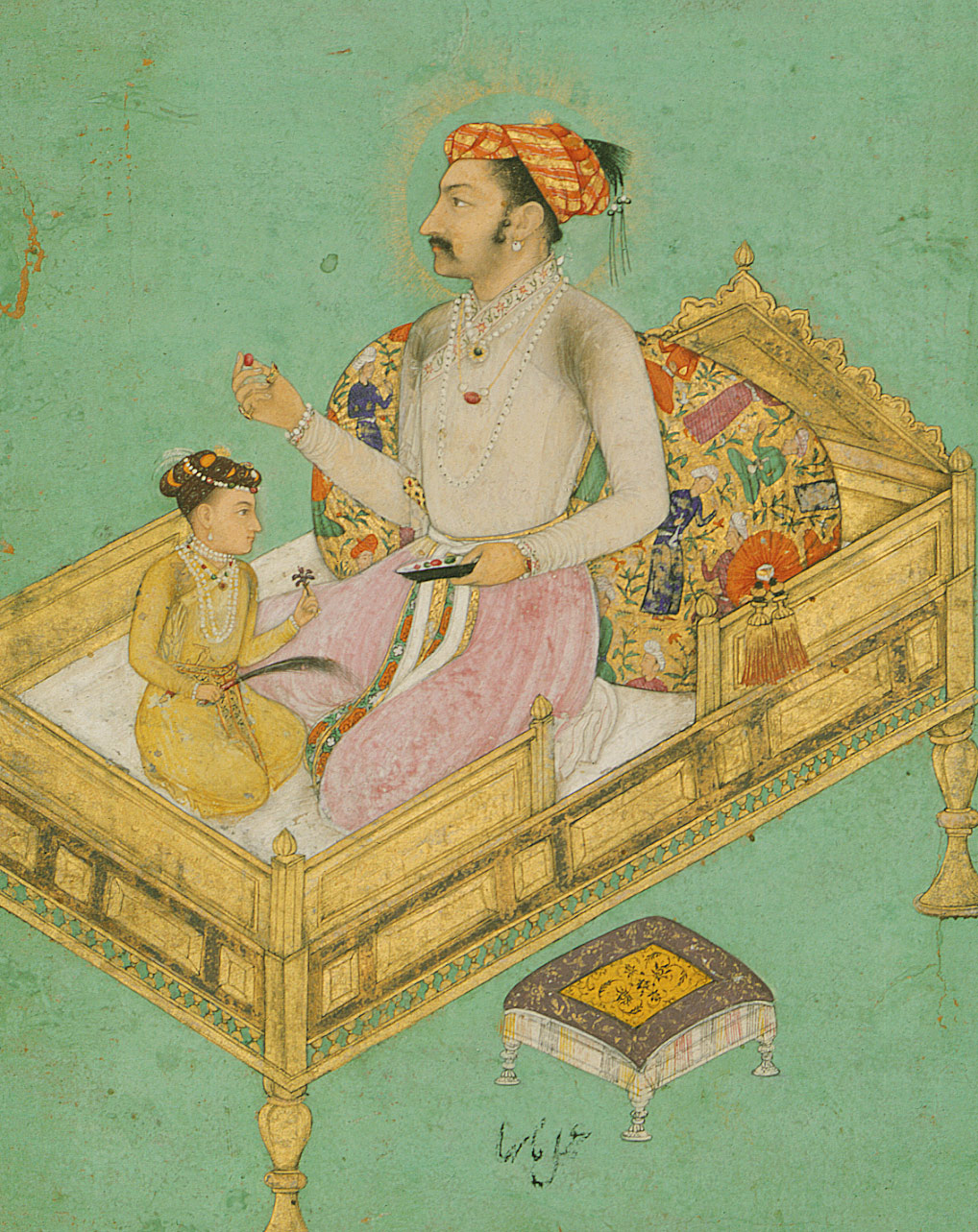 Prince Khurram (Shah Jahan) with His Son Dara Shikoh: