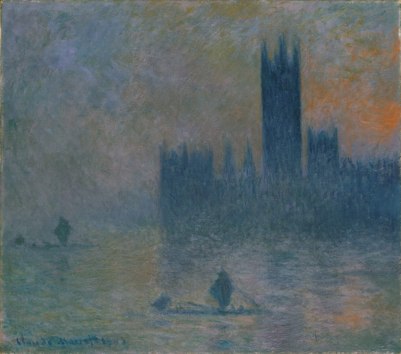 the houses of parliament effect of fog claude monet  the houses of parliament effect of fog