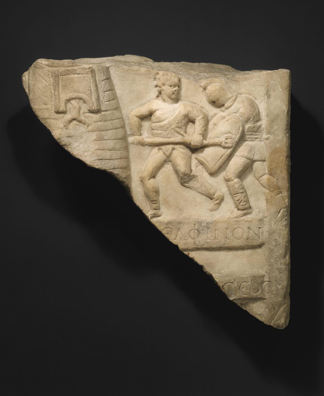 Marble relief fragment with gladiators | Work of Art | Heilbrunn