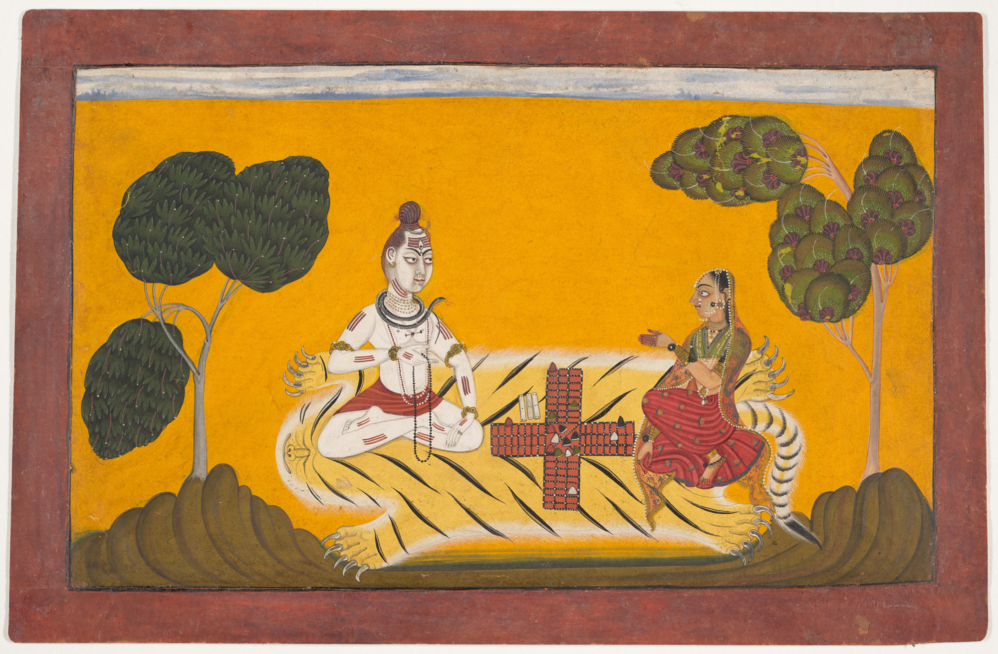 Shiva and Parvati Playing Chaupar: Folio from a Rasamanjari Series