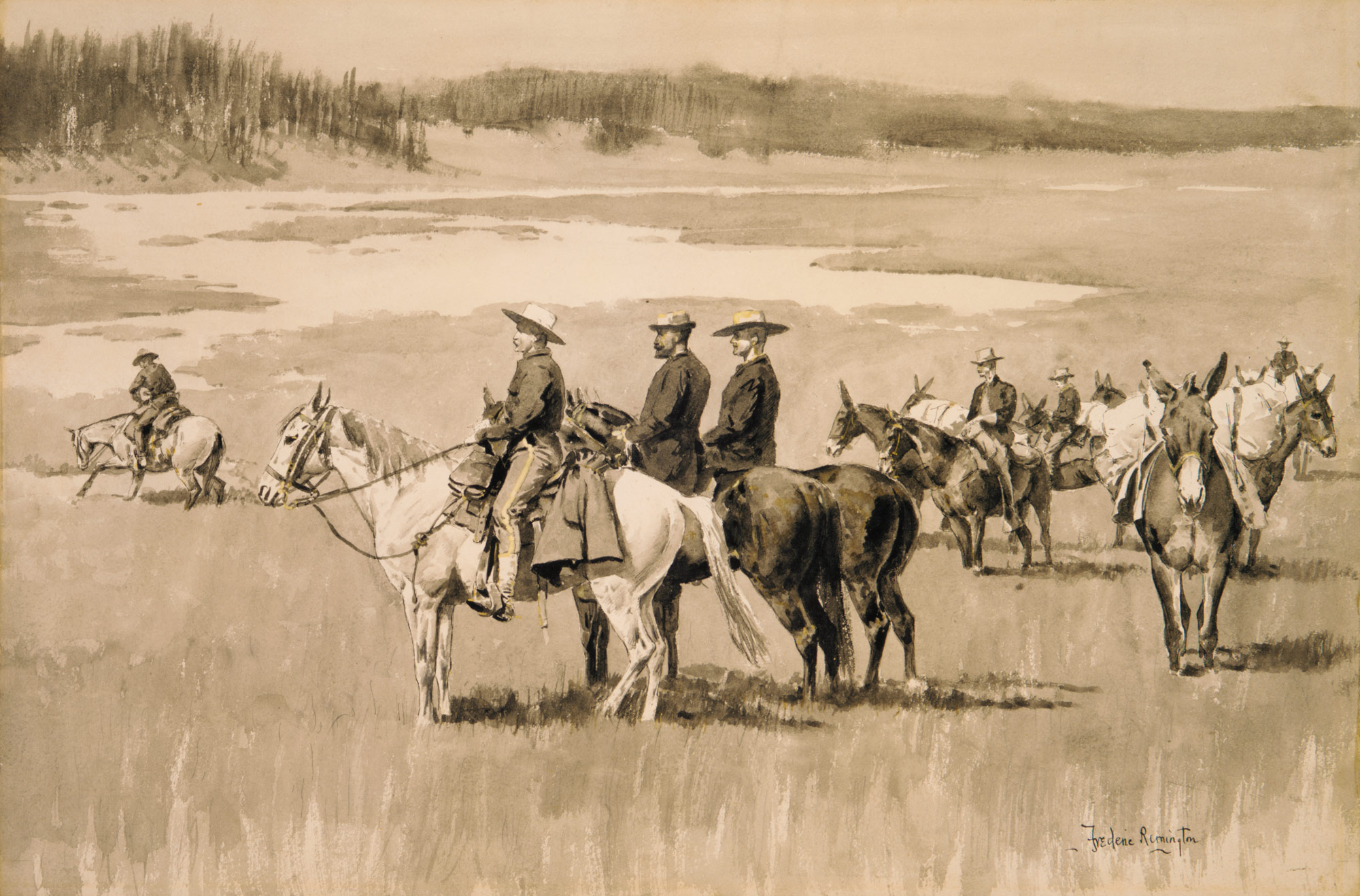 Burgess Finding a Ford (illustration from Frederic Remingtons Pony Tracks, 1895)