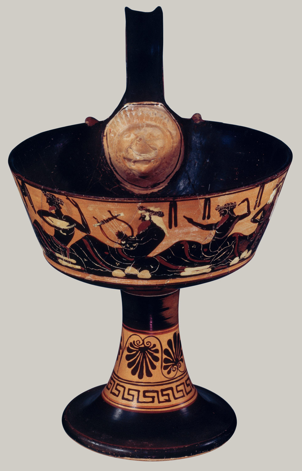 Terracotta one-handled kantharos (drinking cup)