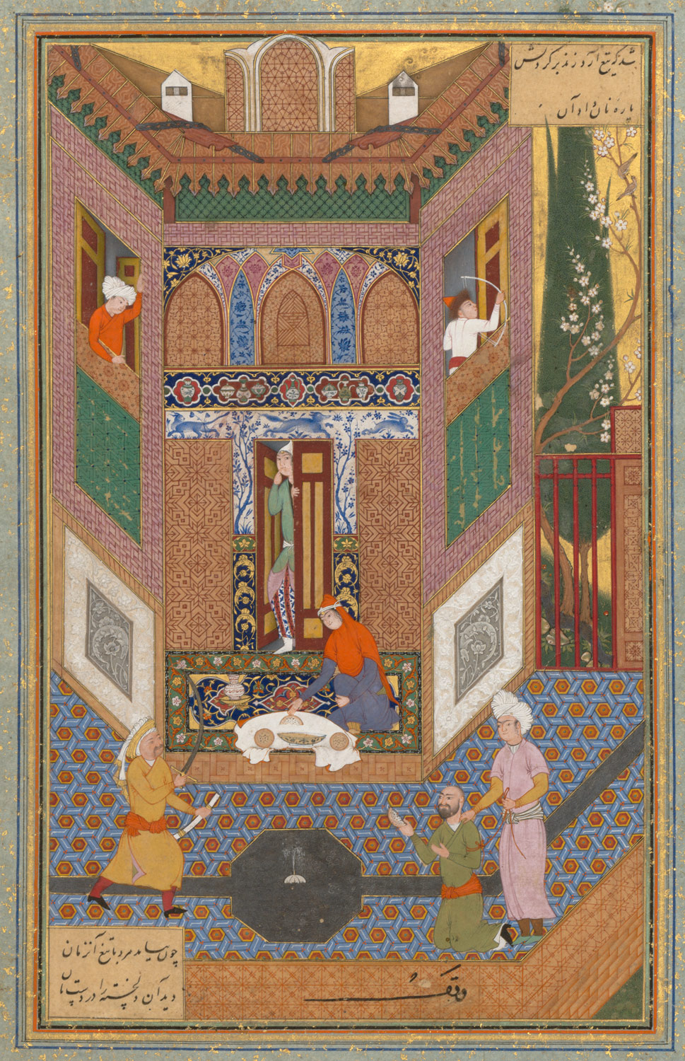 A Ruffian Spares the Life of a Poor Man, Folio 4v from a Mantiq al-tair (Language of the Birds)