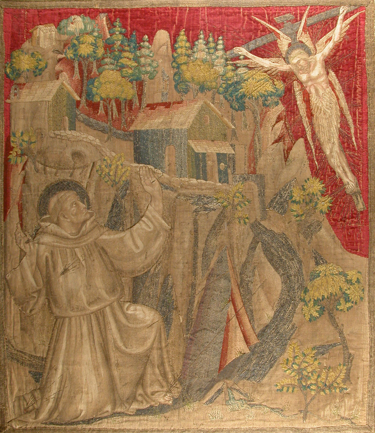 Textile with Saint Francis receiving the stigmata