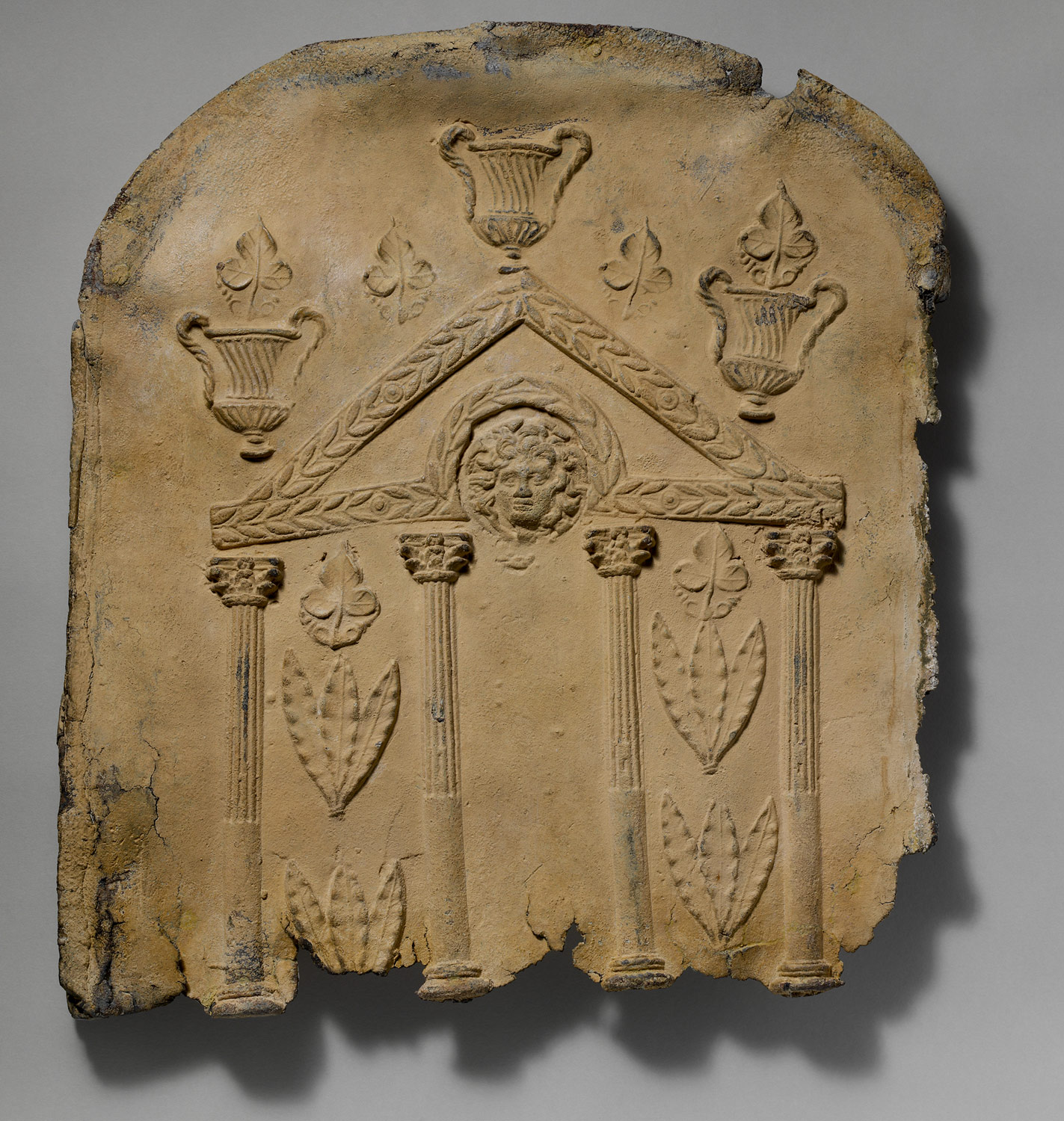 Lid and end panels of a lead sarcophagus