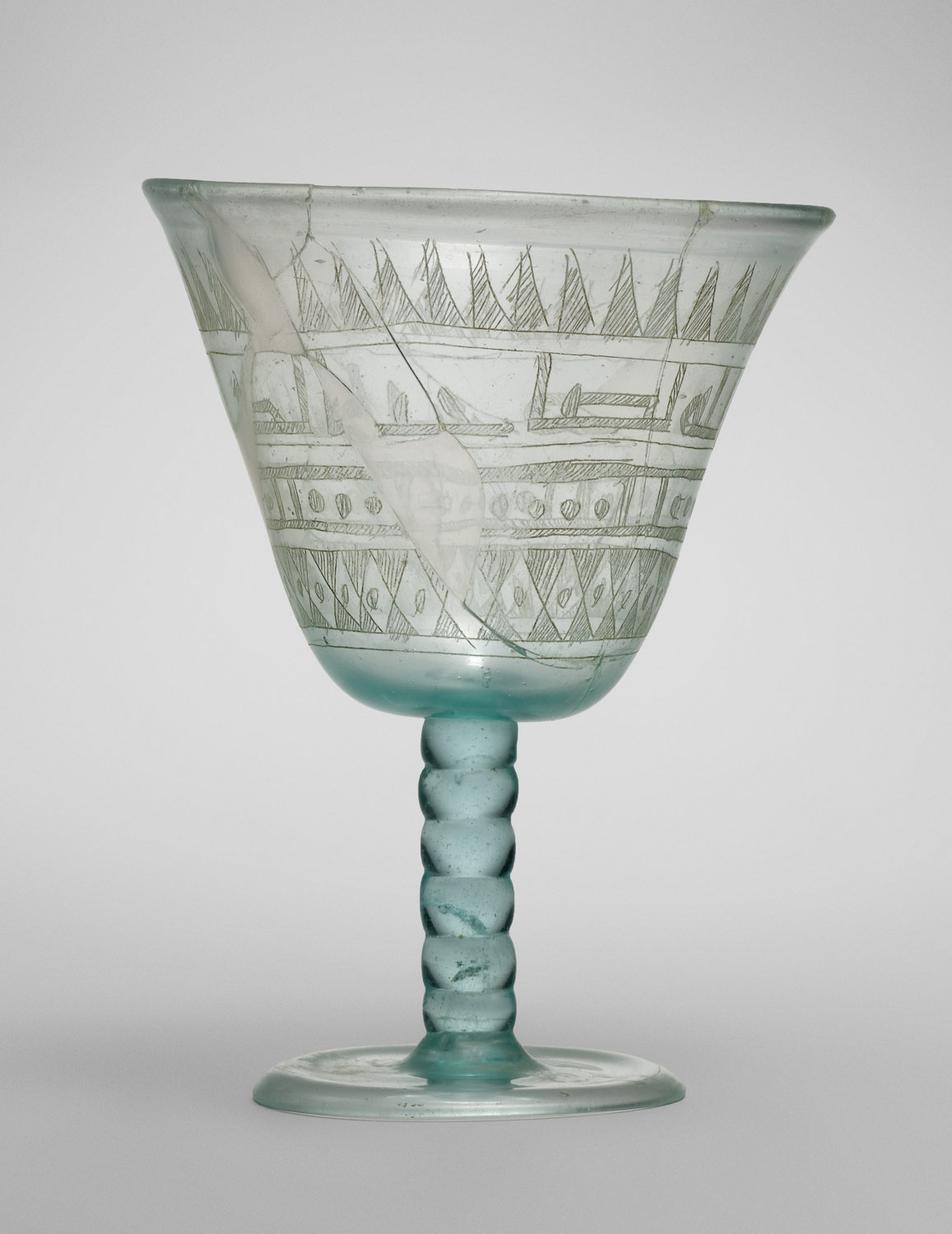 Goblet with Incised Designs, ,Glass