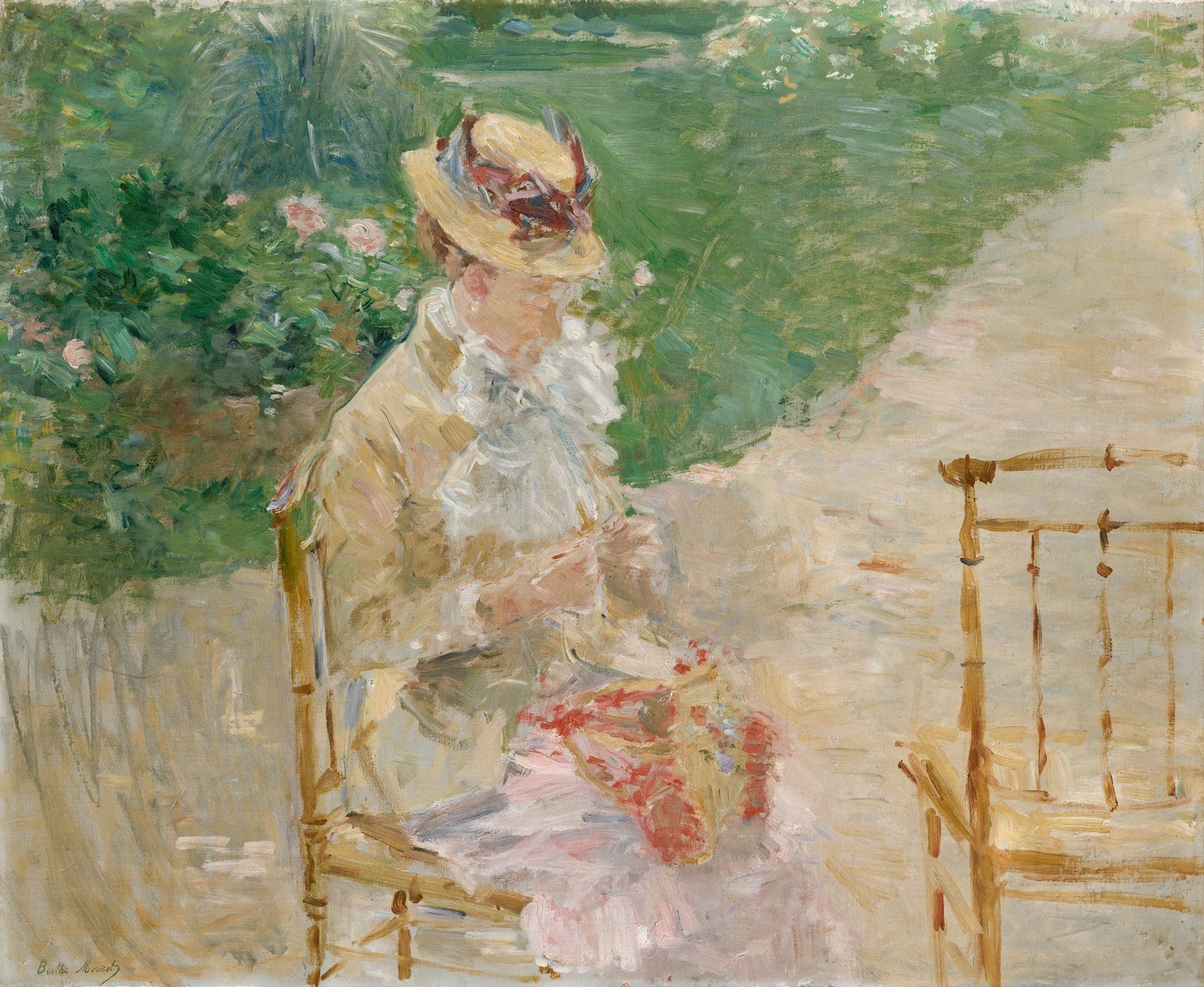 young w knitting berthe morisot work of art young w knitting