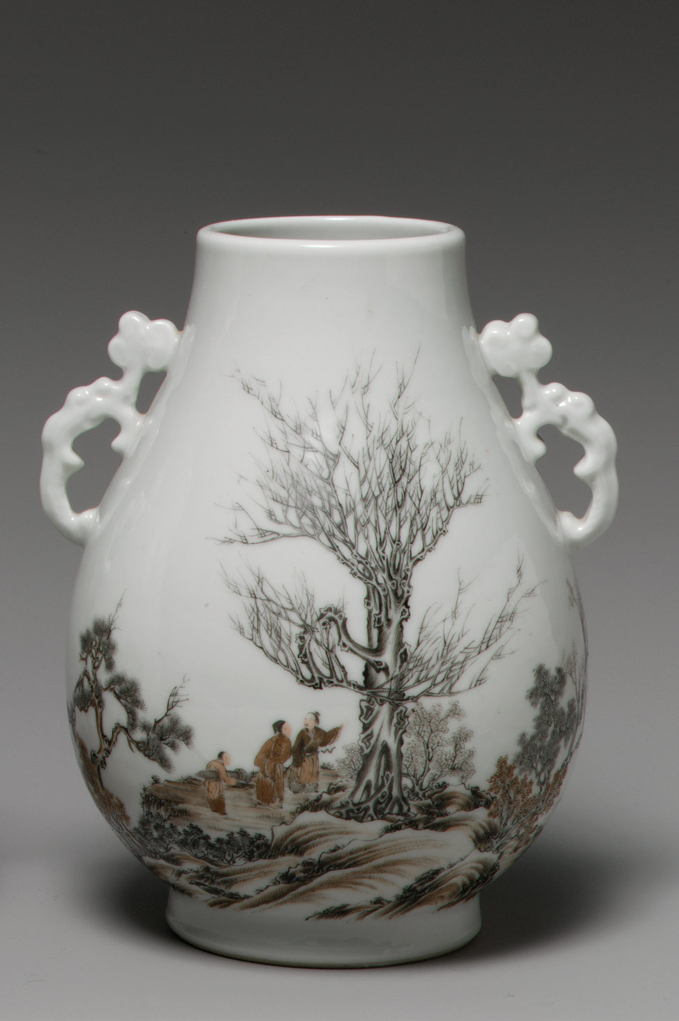 Vase with Scholar in a Landscape (one of a pair)