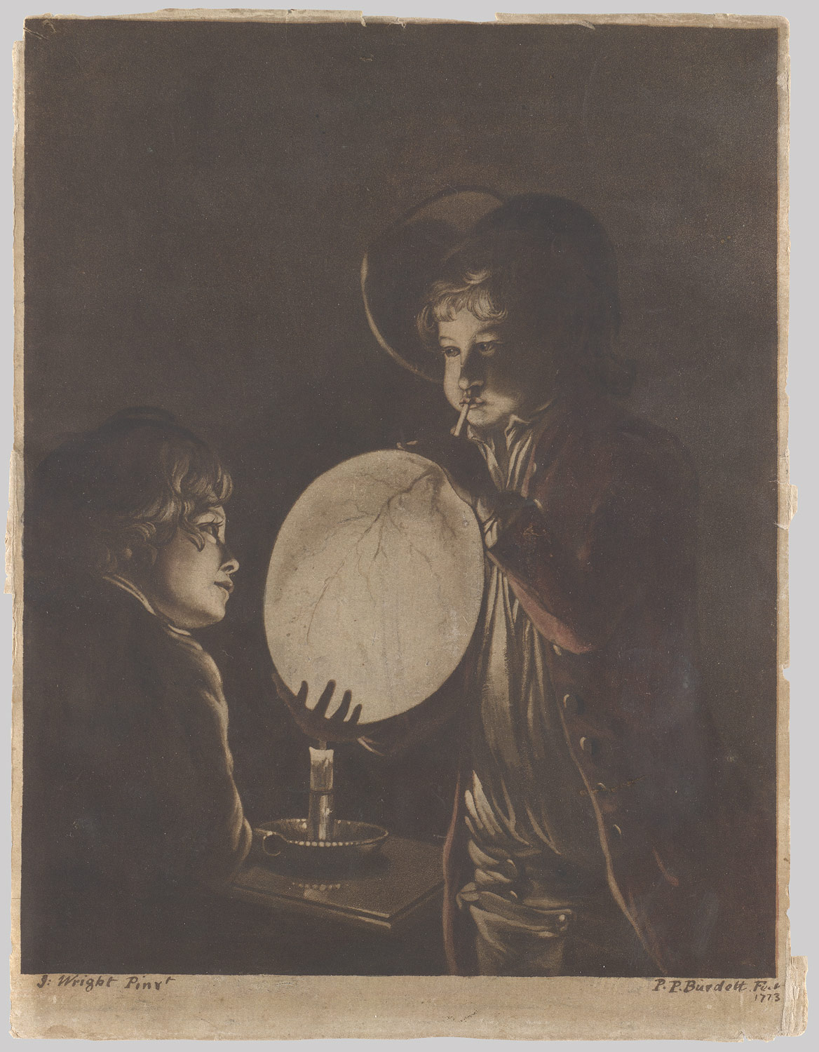 Two Boys Blowing a Bladder by Candle-light