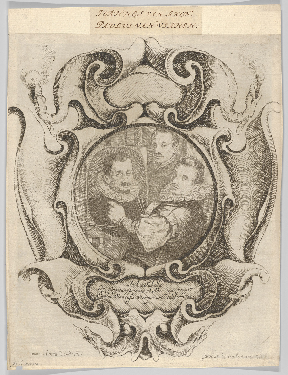 Auricular Cartouche with the Painter Hans von Aachen, the Goldsmith Paulus van Vianen, and the Sculptor Adriaen de Vries