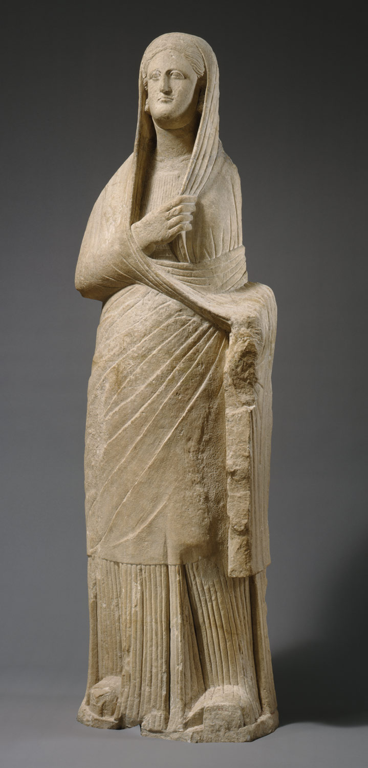 Limestone statue of a veiled female votary