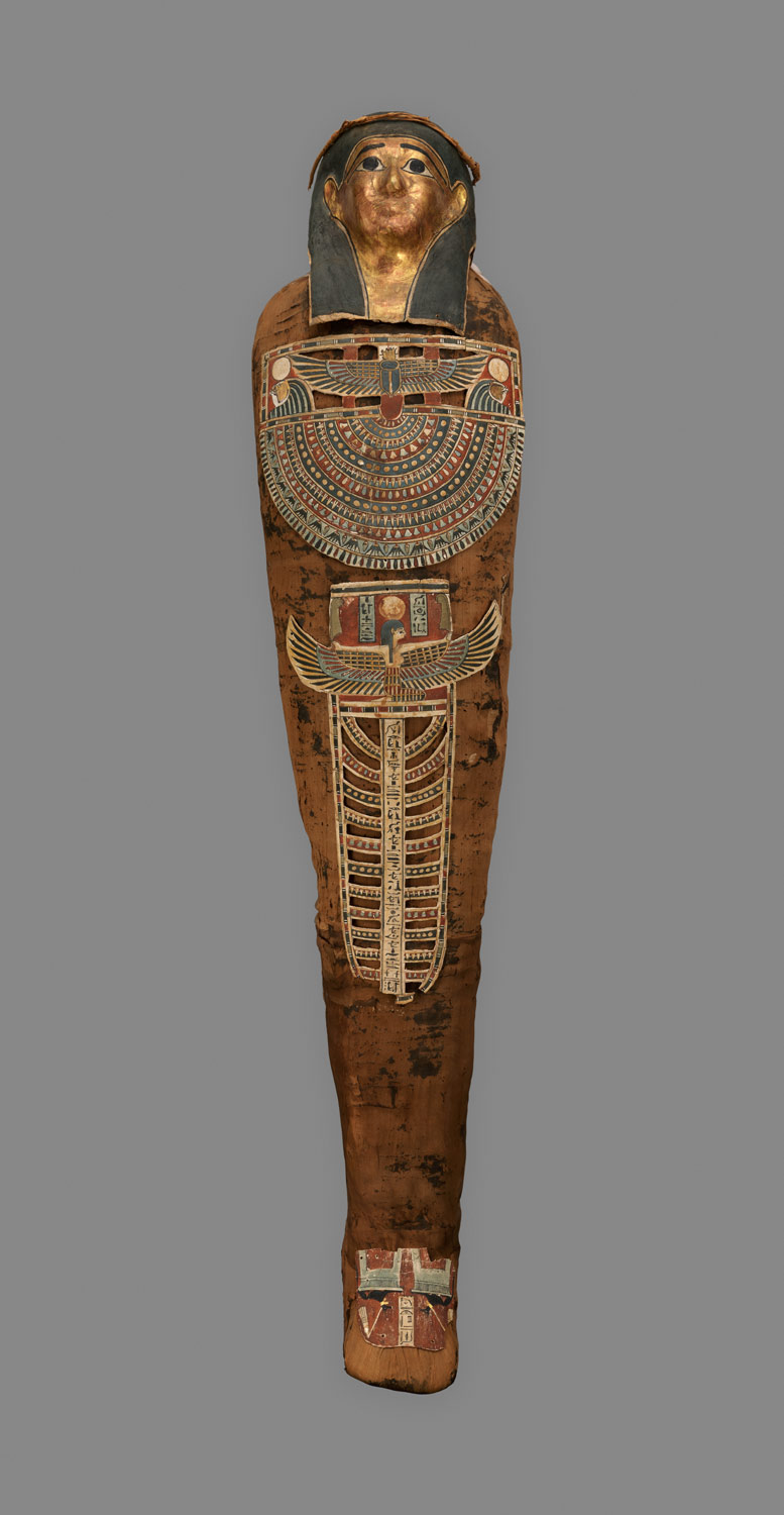 f7a32bf954235 ... Mummy of Nesmin with plant wreath, mummy mask and other cartonnage  elements ...