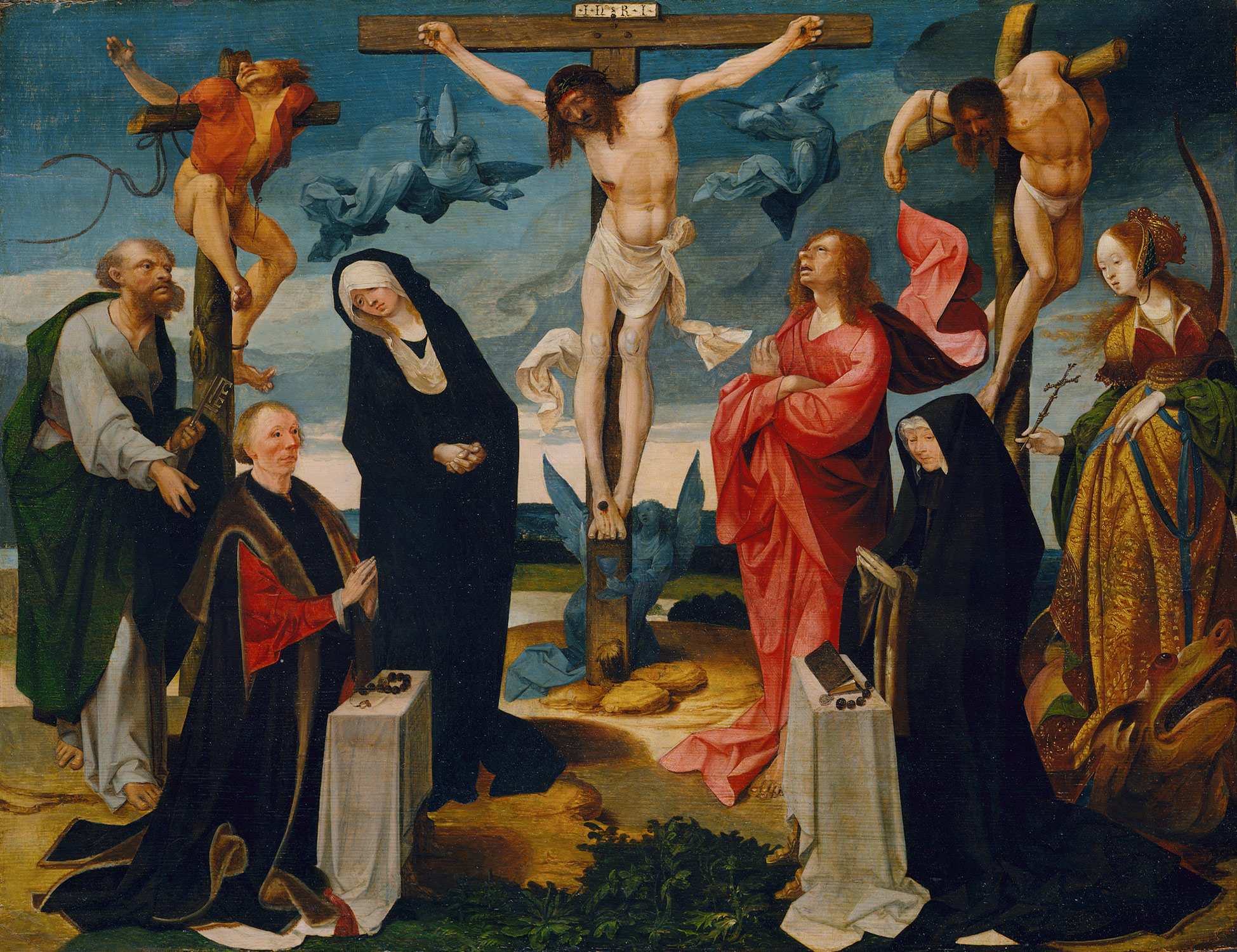 The Crucifixion With Donors And Saints Peter Margaret