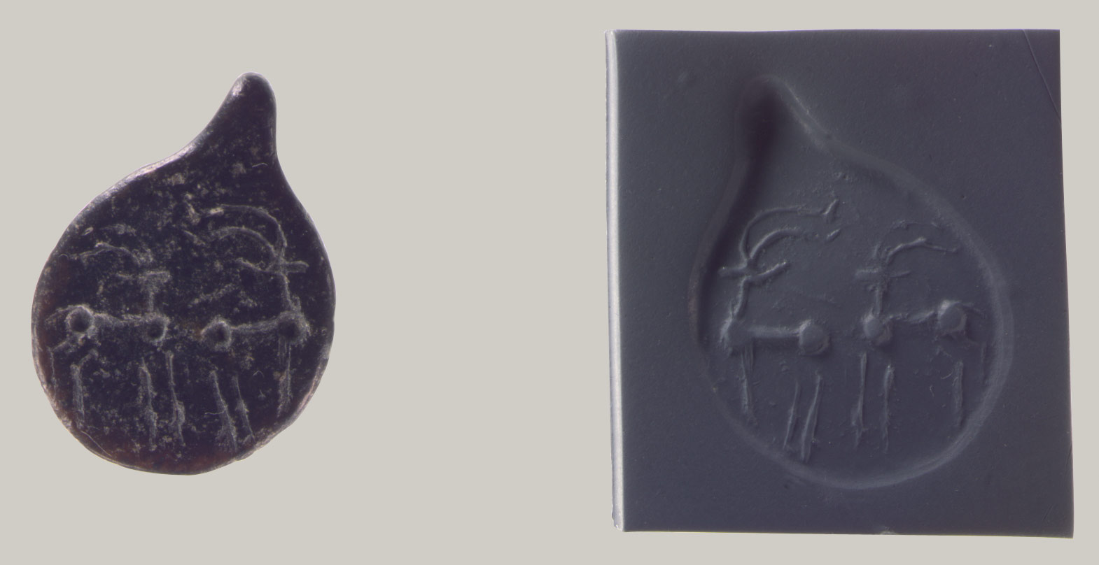 Drop-shaped (tanged) pendant seal and modern impression: quadrupeds
