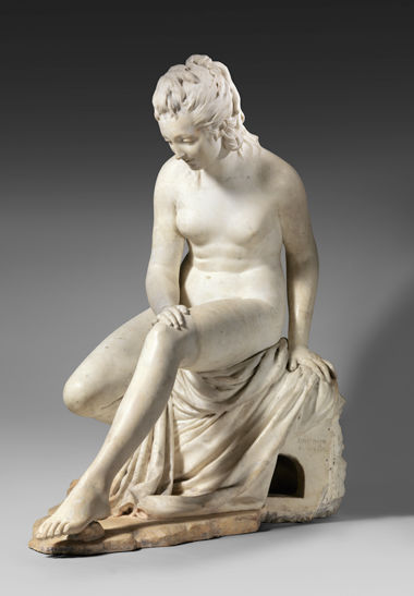 Jean Antoine Houdon (French, 1741–1828), Bather (from a fountain group)