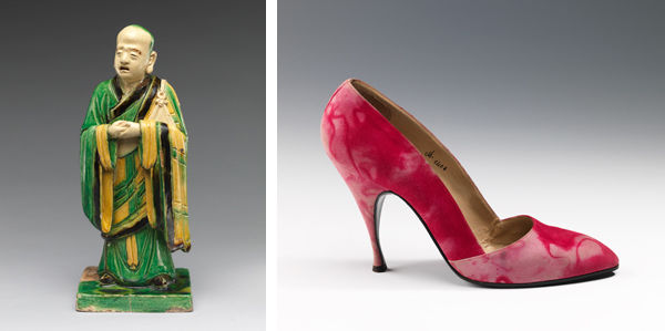Left: Qiao Bin (Chinese, active 1481–1507). Parinirvana (Extinction of the Buddha) and Attendant. Right: Dal Co' (Italian). Pumps, 1958