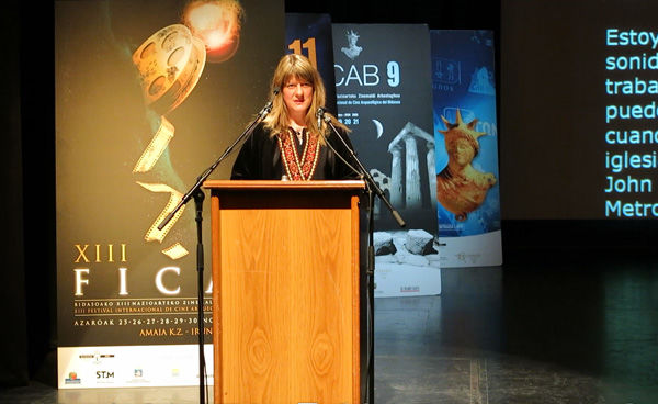 Jessica Glass speaking at the FICAB Film Festival