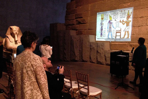 Projection on the wall of the Temple of Dendur