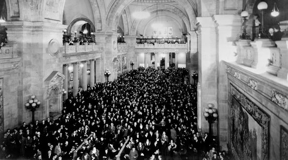 Audience in the Great Hall for Mannes concert, February 1, 1933