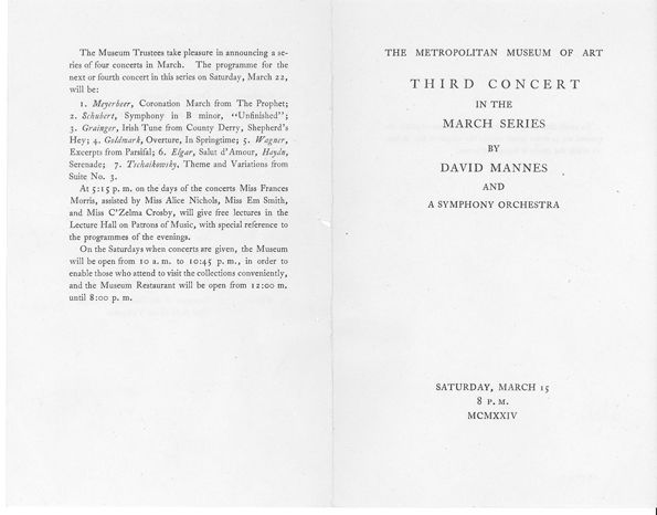 "Program for a 1924 concert by ""David Mannes and a symphony orchestra"""