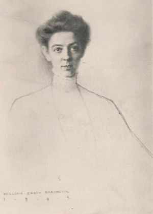 Frances Morris in 1905, photograph of a lost drawing by William Carey Brazington