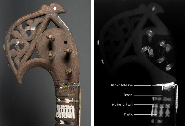 Rubāb. Afghanistan, early 20th century. Detail of neck (left) and x-radiograph of same area (right)