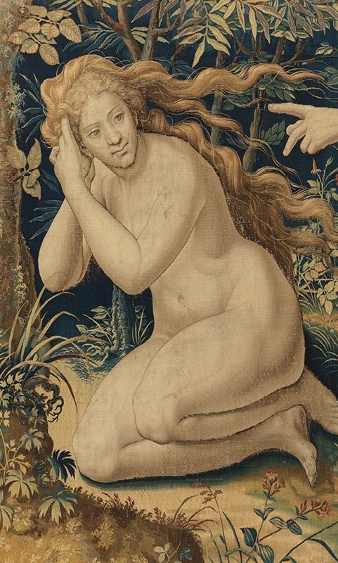 Pieter Coecke van Aelst (Netherlandish, 1502–1550). Story of Creation: God's Anger after the Fall tapestry (detail), 1548. Woven by Jan de Kempeneer (Flemish, active 1540–56). Wool, silk and gilt metallic thread